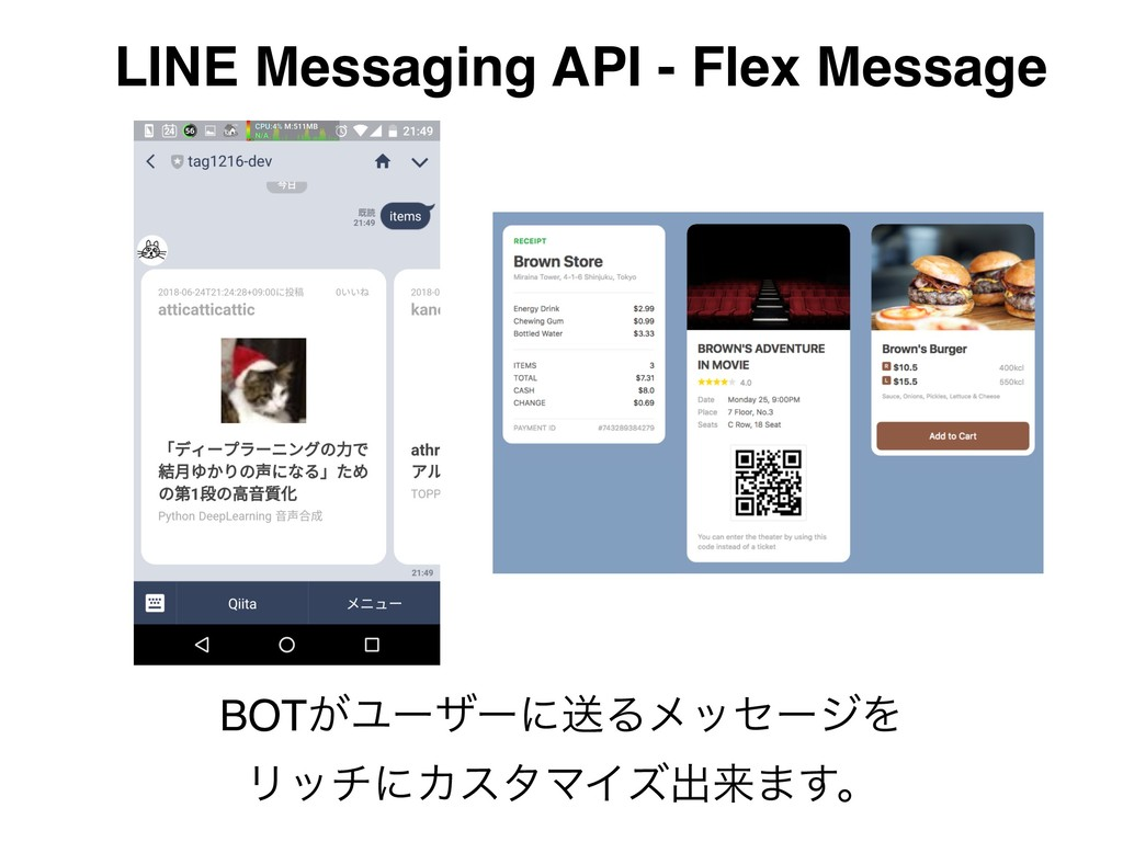 LINE Messaging API - Flex Message BOT͕ϢʔβʔʹૹΔϝο...