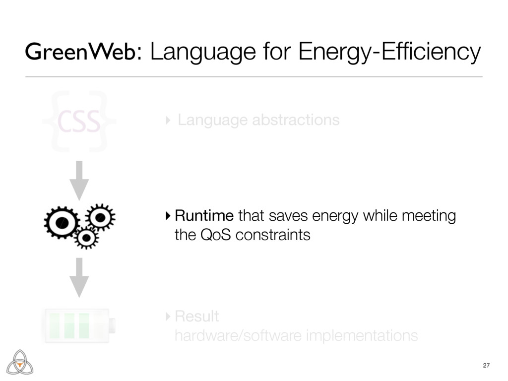 ▸ Language abstractions 27 ▸ Runtime that saves...