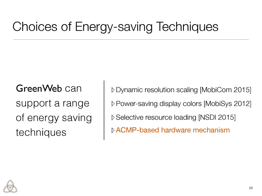 Choices of Energy-saving Techniques 23 GreenWeb...