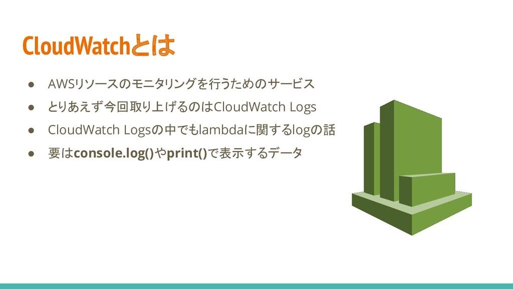 CloudWatchとは ● AWSリソースのモニタリングを行うためのサービス ● とりあえず...