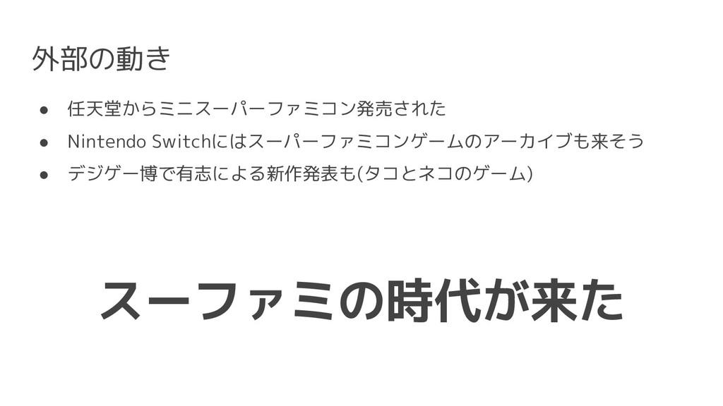外部の動き ● 任天堂からミニスーパーファミコン発売された ● Nintendo Switch...