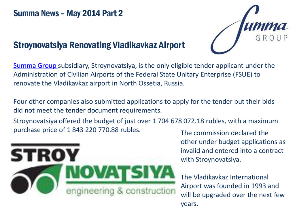 Stroynovatsiya Renovating Vladikavkaz Airport S...