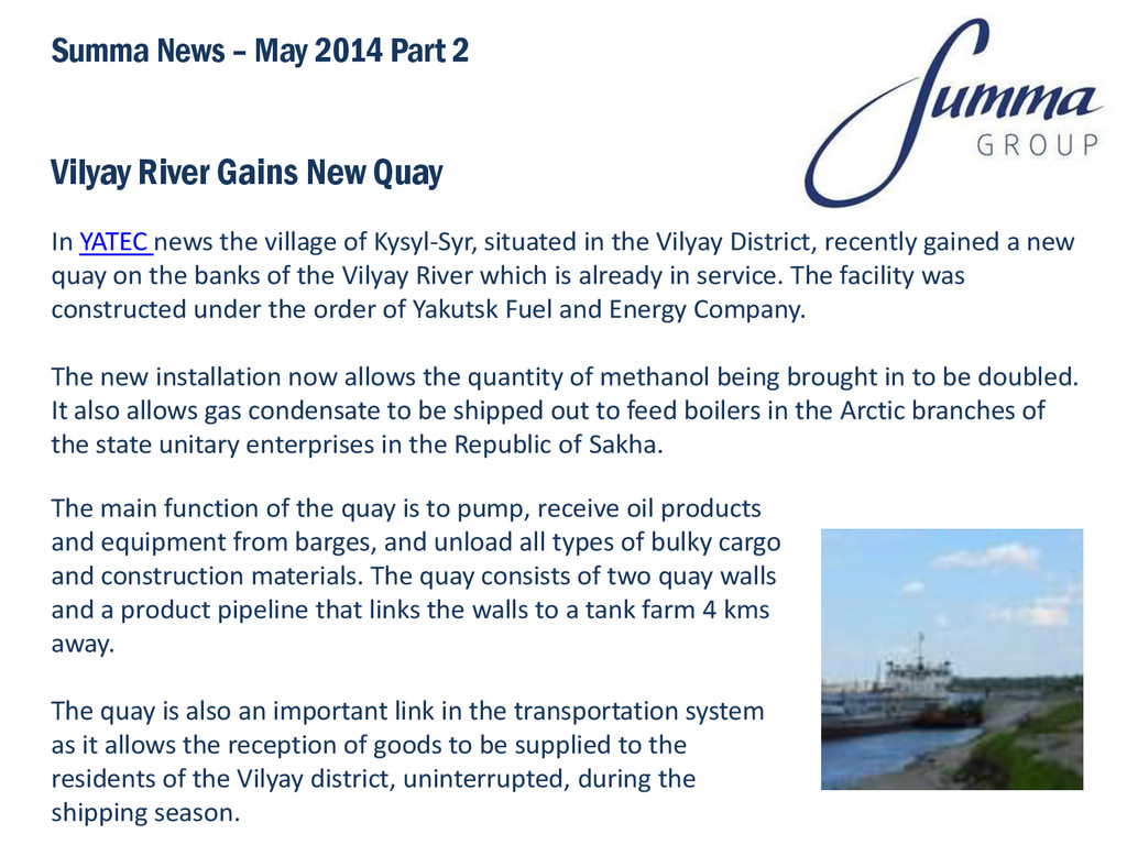 Vilyay River Gains New Quay In YATEC news the v...