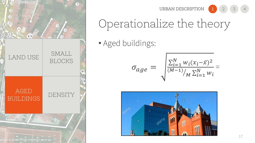 Operationalize the theory • Aged buildings: 17 ...