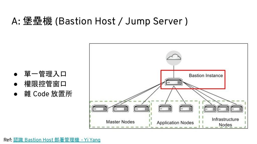 A: 堡壘機 (Bastion Host / Jump Server ) ● 單一管理入口 ●...