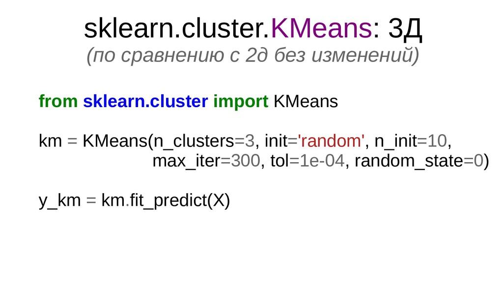 sklearn.cluster.KMeans: 3Д (по сравнению с 2д б...
