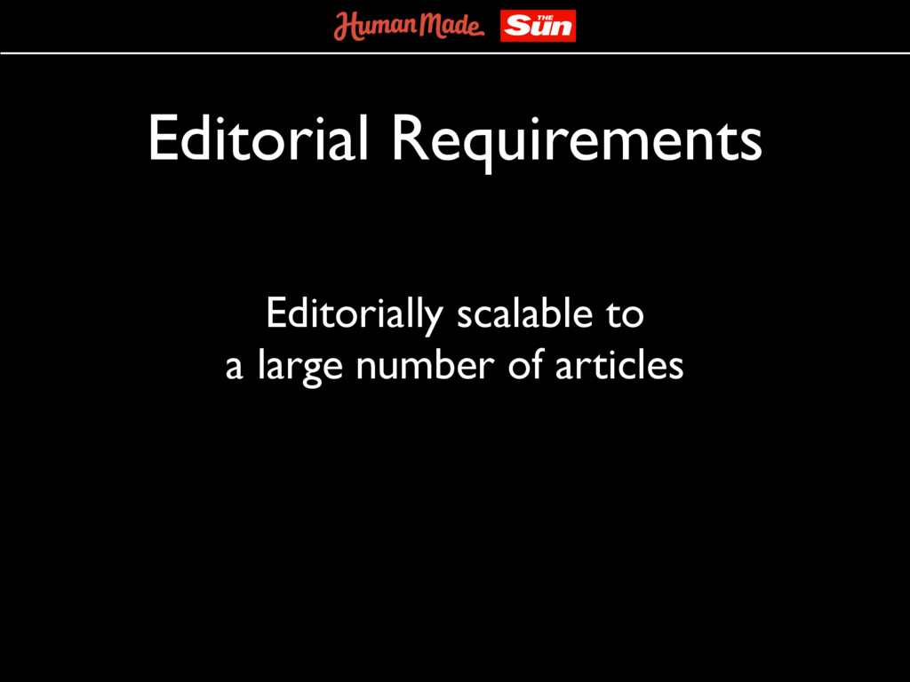 Editorial Requirements Editorially scalable to ...