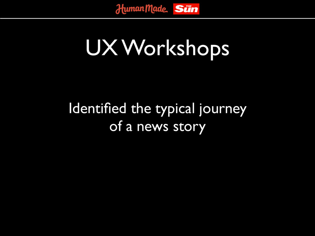 UX Workshops Identified the typical journey of a...