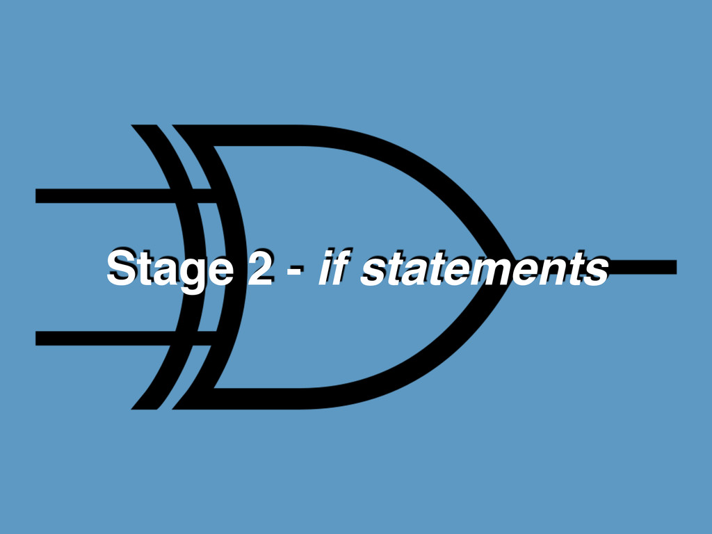 Stage 2 - if statements