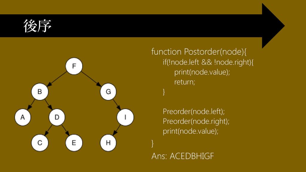 function Postorder(node){ if(!node.left && !nod...