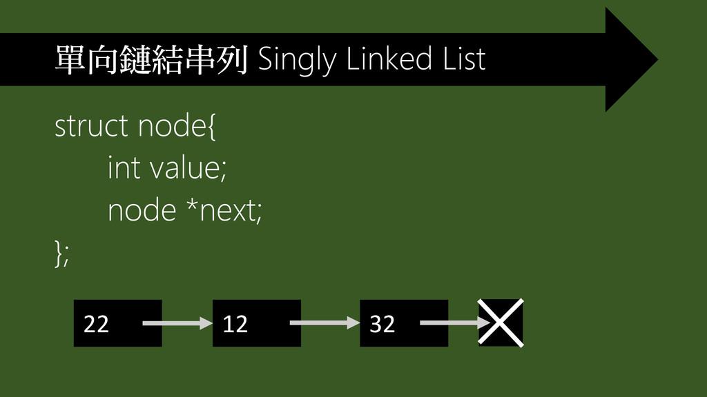 struct node{ int value; node *next; }; 單向鏈結串列 S...