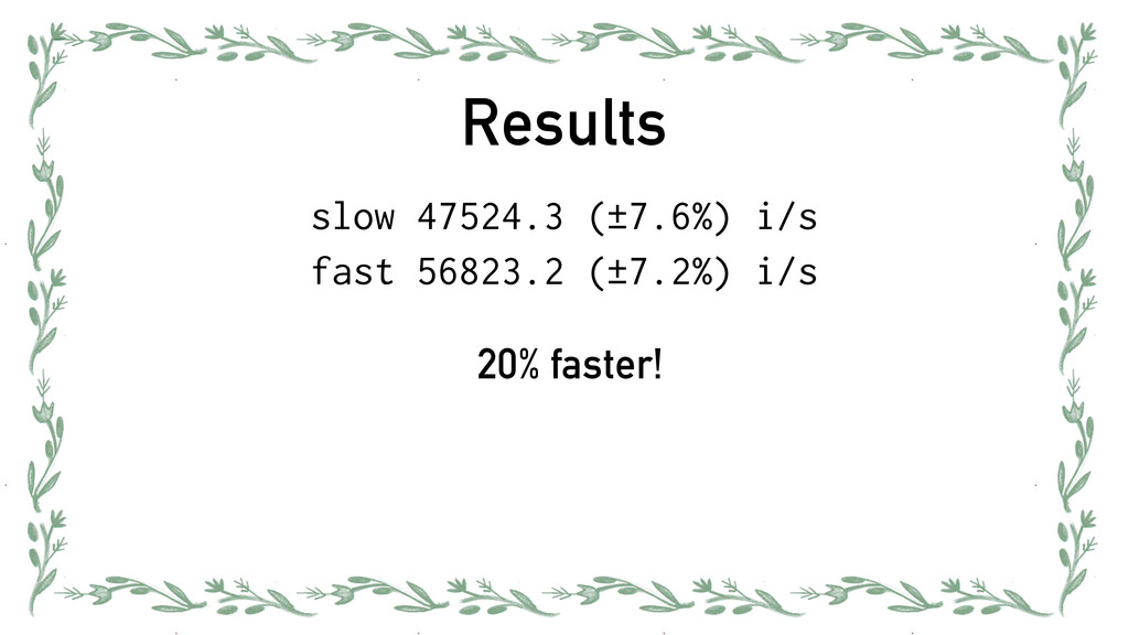 Results slow 47524.3 (±7.6%) i/s fast 56823.2 (...