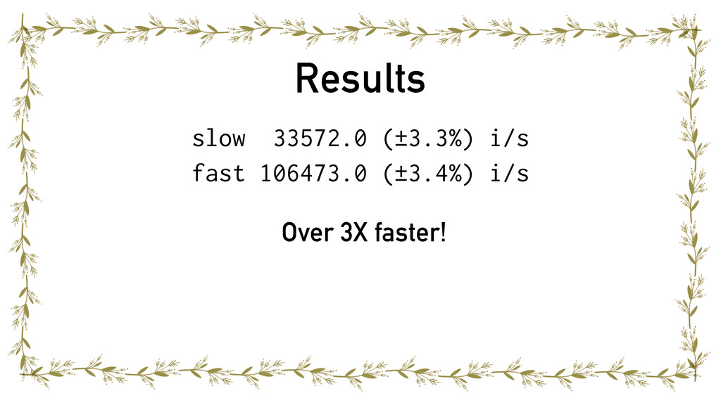 Results slow 33572.0 (±3.3%) i/s fast 106473.0 ...