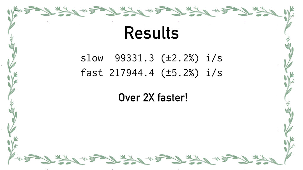 Results slow 99331.3 (±2.2%) i/s fast 217944.4 ...
