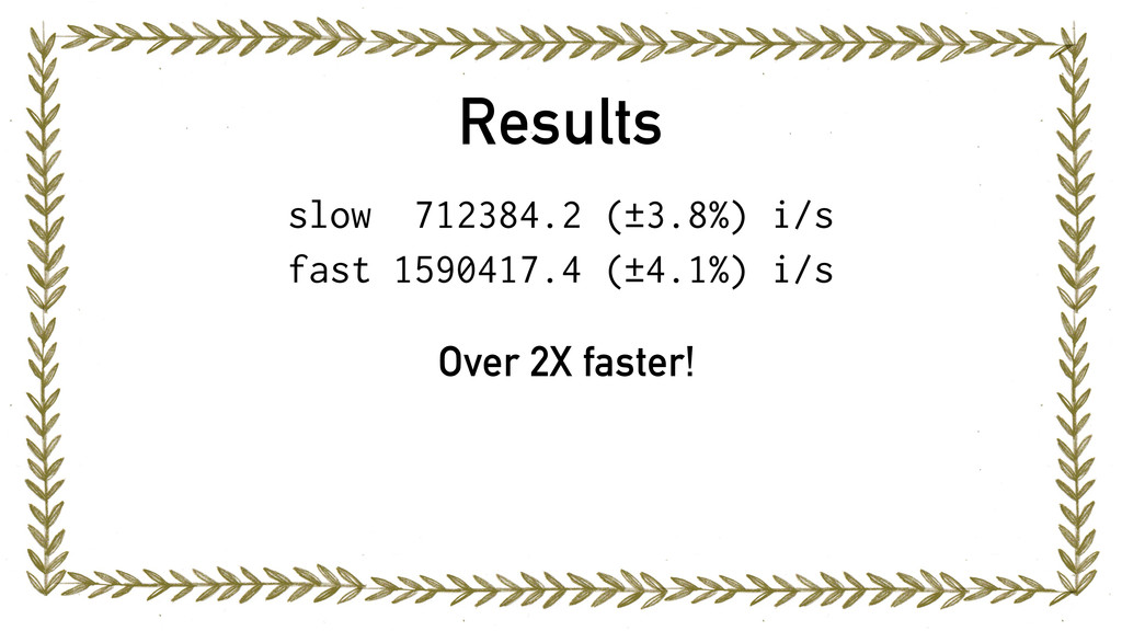 Results slow 712384.2 (±3.8%) i/s fast 1590417....