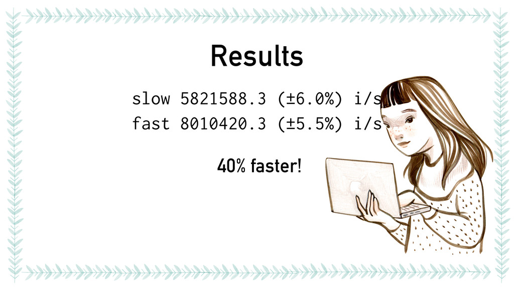 Results slow 5821588.3 (±6.0%) i/s fast 8010420...
