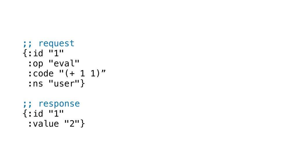 ";; request {:id ""1"" :op ""eval"" :code ""(+ 1 1)"" ..."