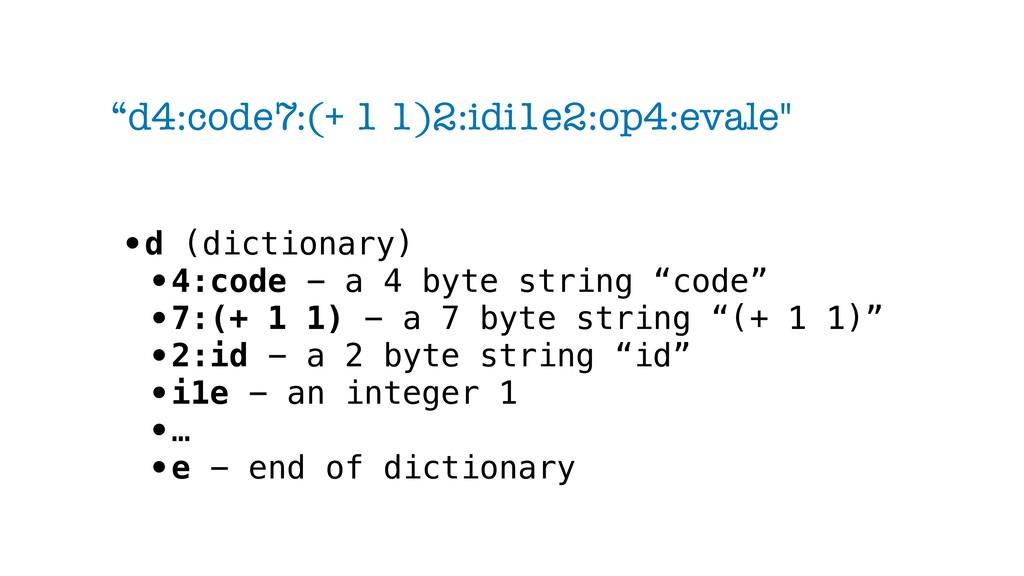 """d4:code7:(+ 1 1)2:idi1e2:op4:evale"" •d (dictio..."