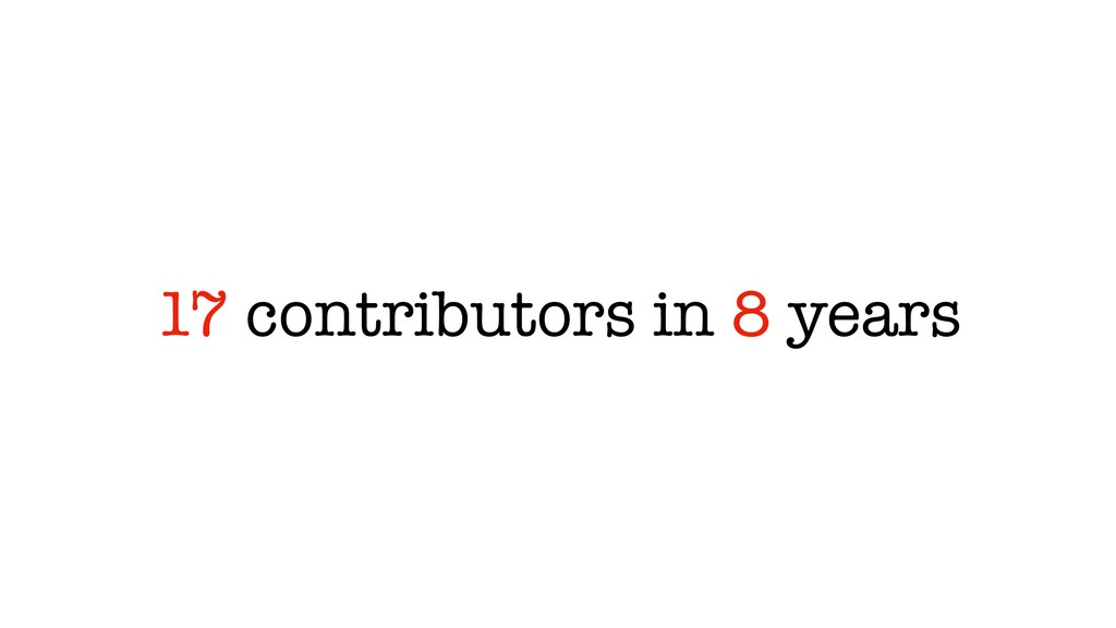 17 contributors in 8 years