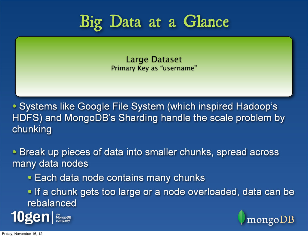 Big Data at a Glance • Systems like Google File...