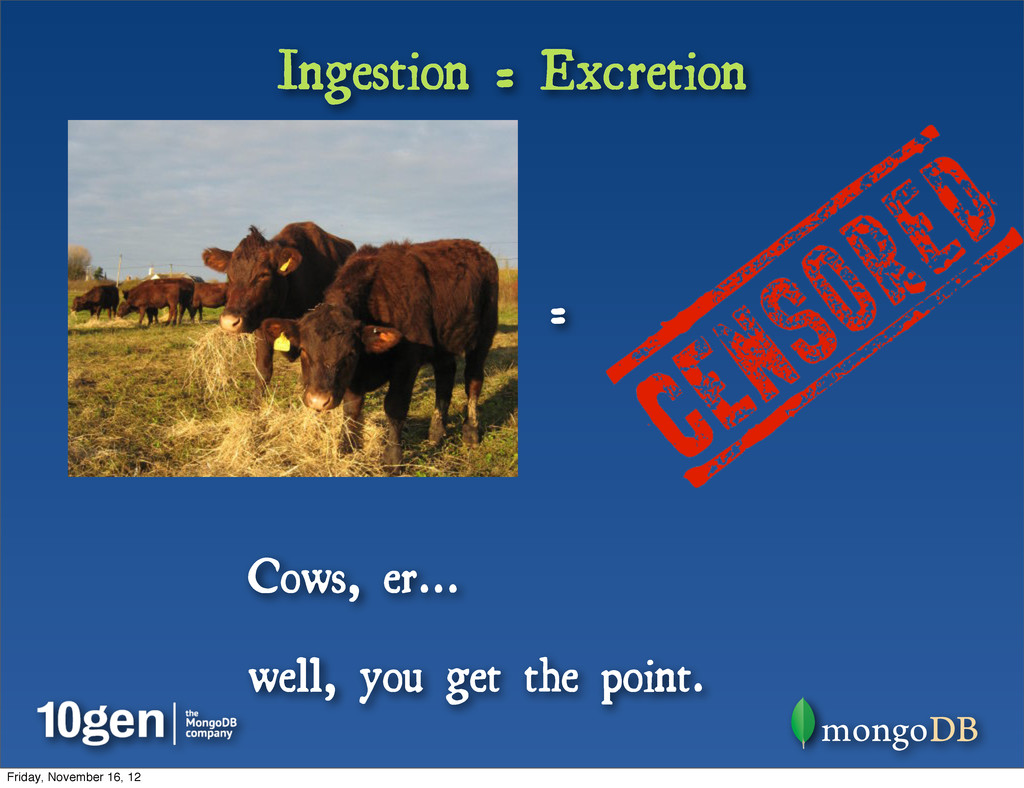Ingestion = Excretion = Cows, er... well, you g...