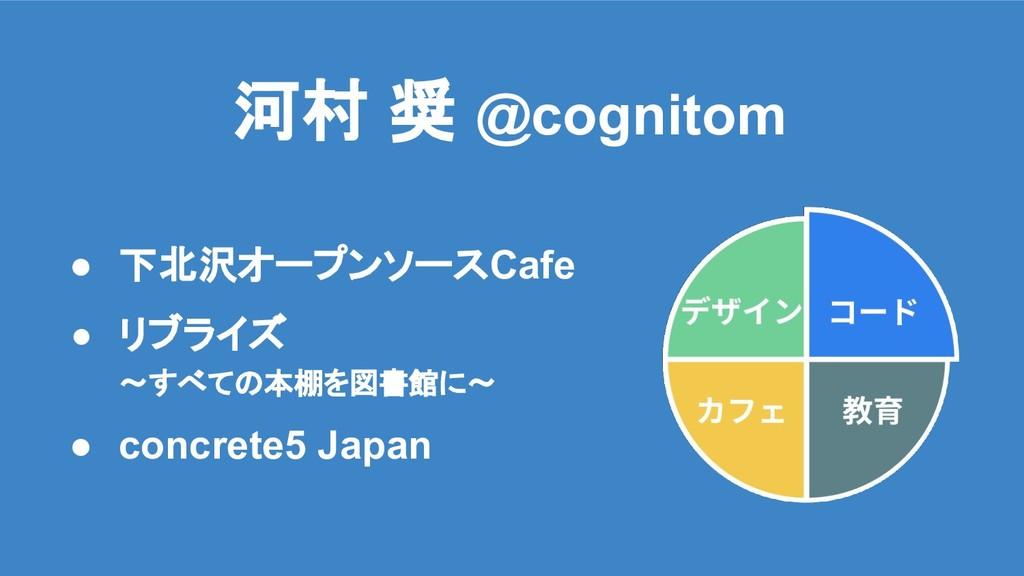 河村 奨 @cognitom ● 下北沢オープンソースCafe ● リブライズ ~すべての本棚...