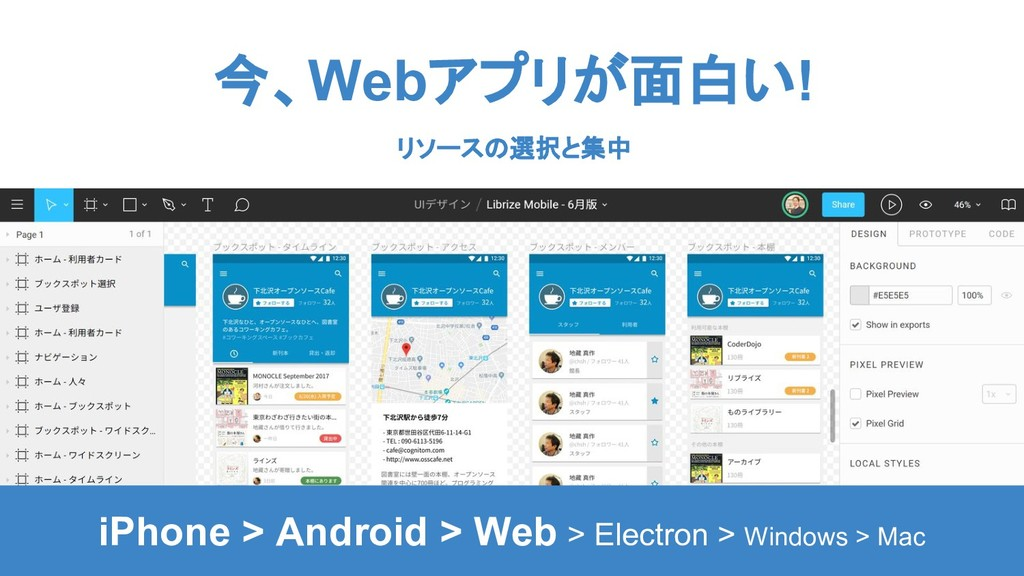今、Webアプリが面白い! リソースの選択と集中 iPhone > Android > Web...