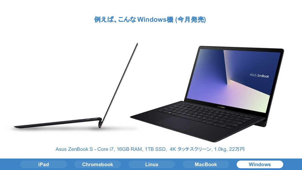 iPad Chromebook Linux MacBook Windows 例えば、こんな W...