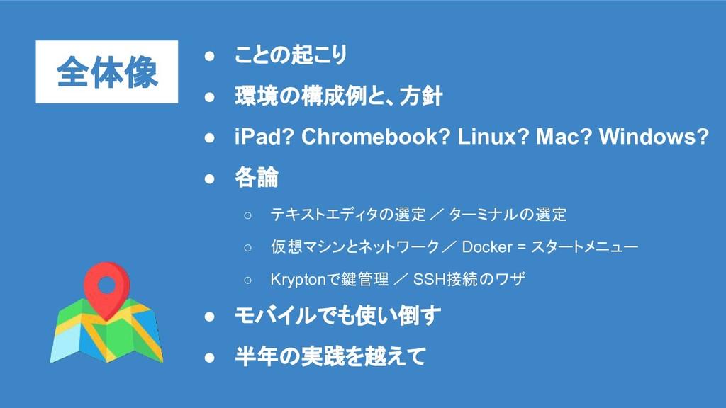 全体像 ● ことの起こり ● 環境の構成例と、方針 ● iPad? Chromebook? L...