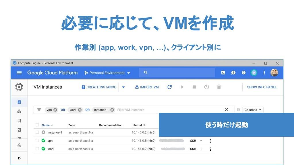必要に応じて、VMを作成 使う時だけ起動 作業別 (app, work, vpn, …)、クラ...