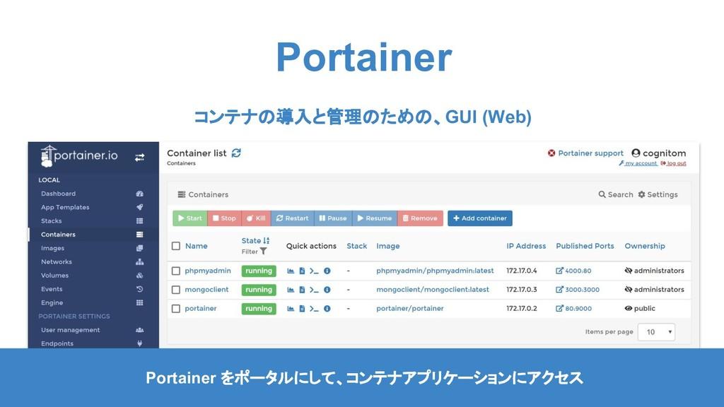 Portainer Portainer をポータルにして、コンテナアプリケーションにアクセス ...