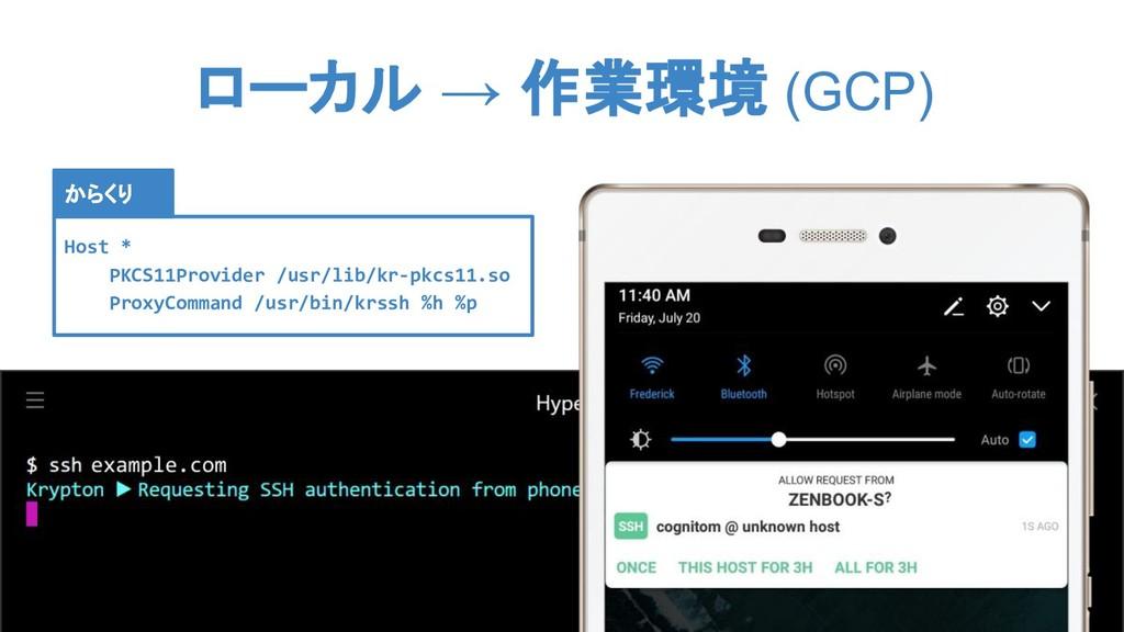 ローカル → 作業環境 (GCP) Host * PKCS11Provider /usr/li...