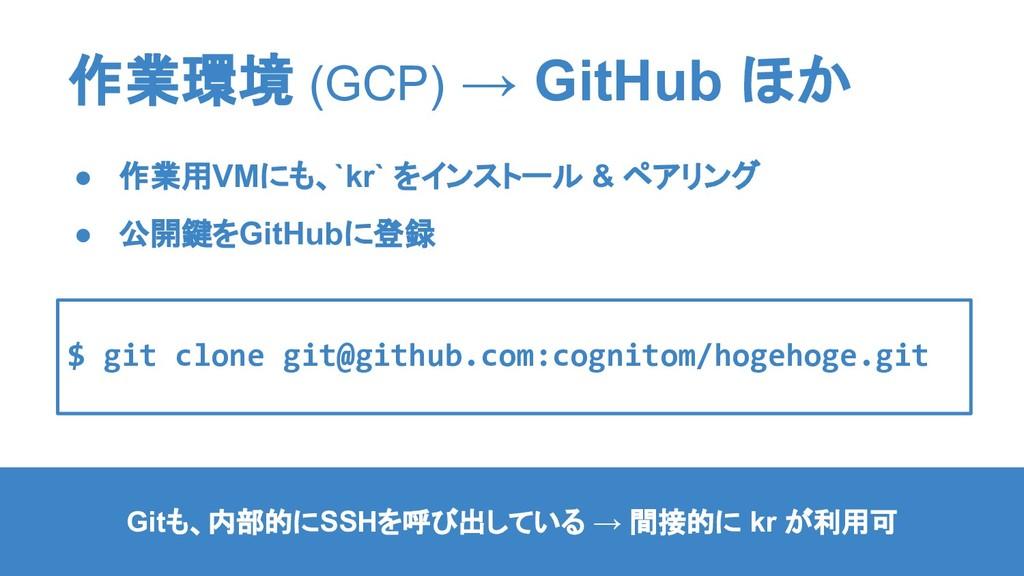 作業環境 (GCP) → GitHub ほか ● 作業用VMにも、`kr` をインストール &...