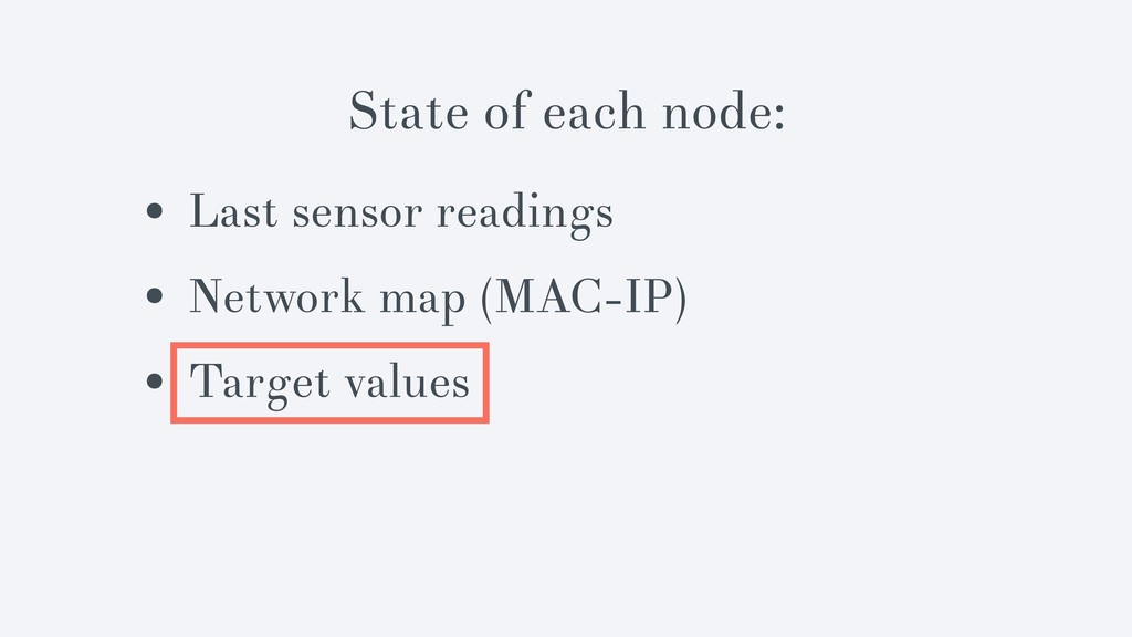 State of each node: • Last sensor readings • Ne...