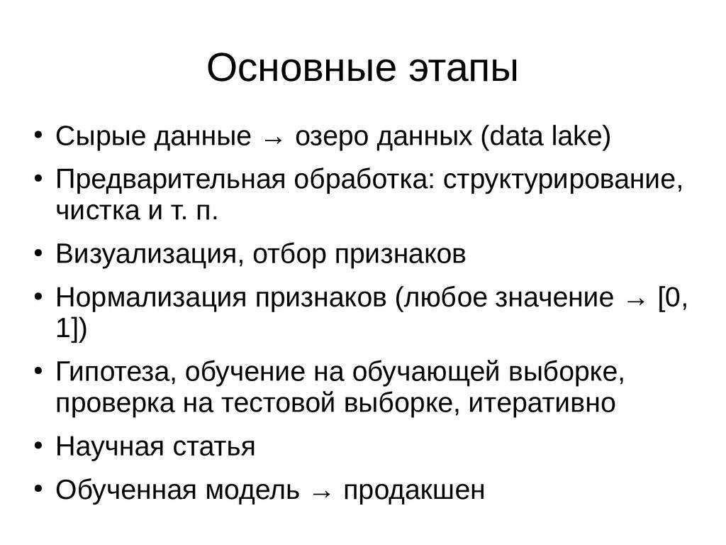 Основные этапы ● Сырые данные → озеро данных (d...