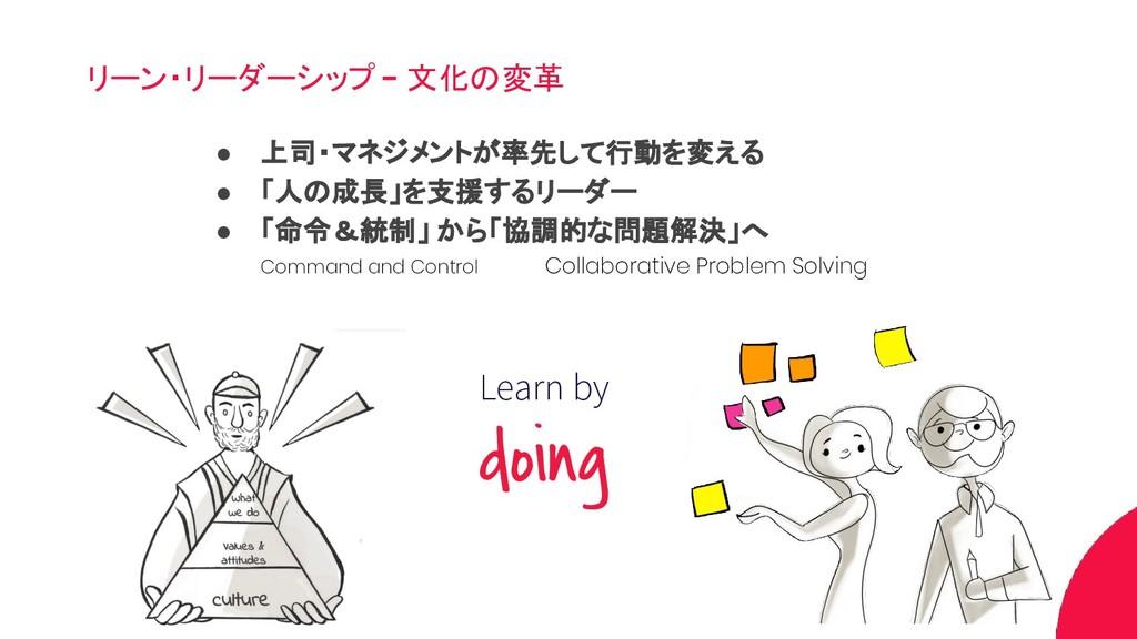リーン・リーダーシップ - 文化の変革 Learn by doing ● 上司・マネジメントが...
