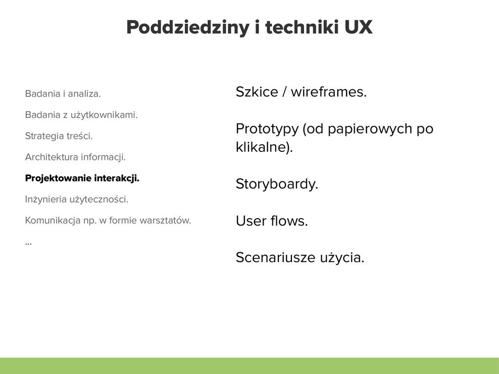 Poddziedziny i techniki UX Badania i analiza. B...