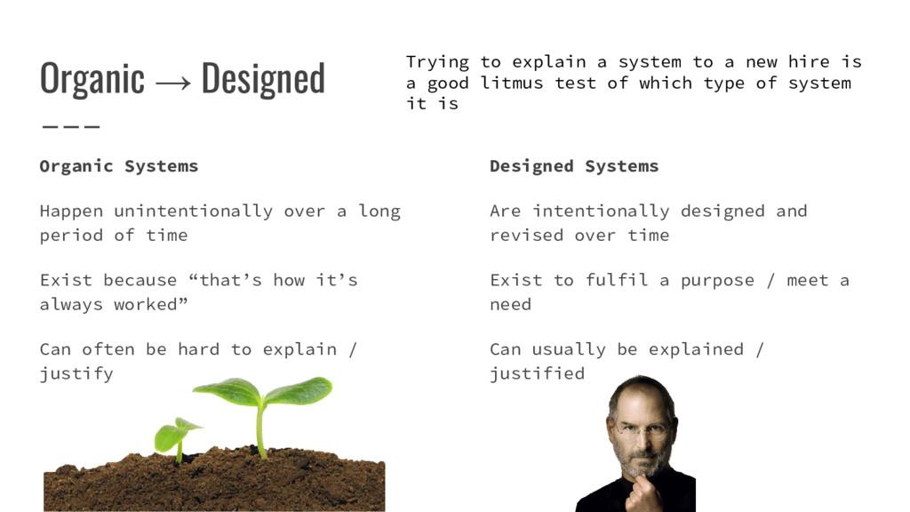 Organic → Designed Organic Systems Happen unint...