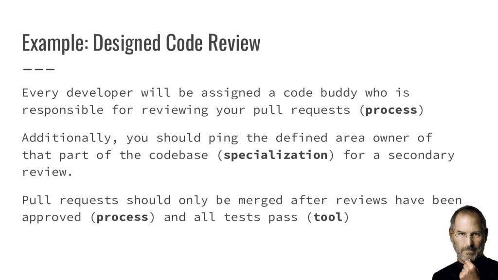 Example: Designed Code Review Every developer w...
