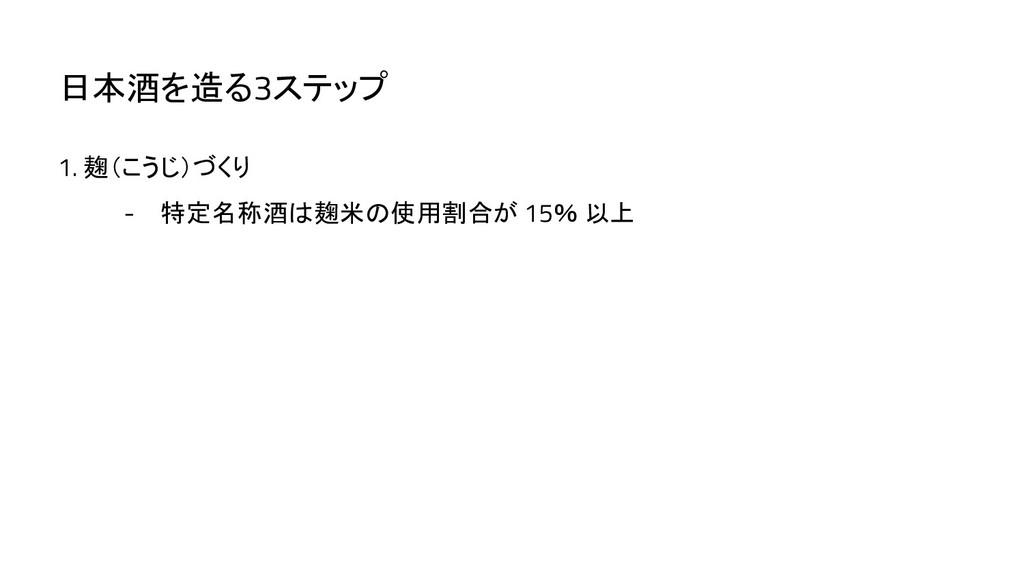 1. 麹(こうじ)づくり - 特定名称酒は麹米の使用割合が 15% 以上 日本酒を造る3ステップ