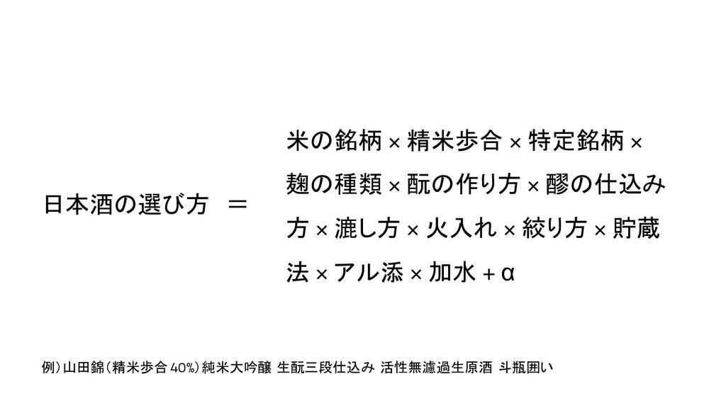 日本酒の選び方 = 米の銘柄 × 精米歩合 × 特定銘柄 × 麹の種類 × 酛の作り方 × 醪...