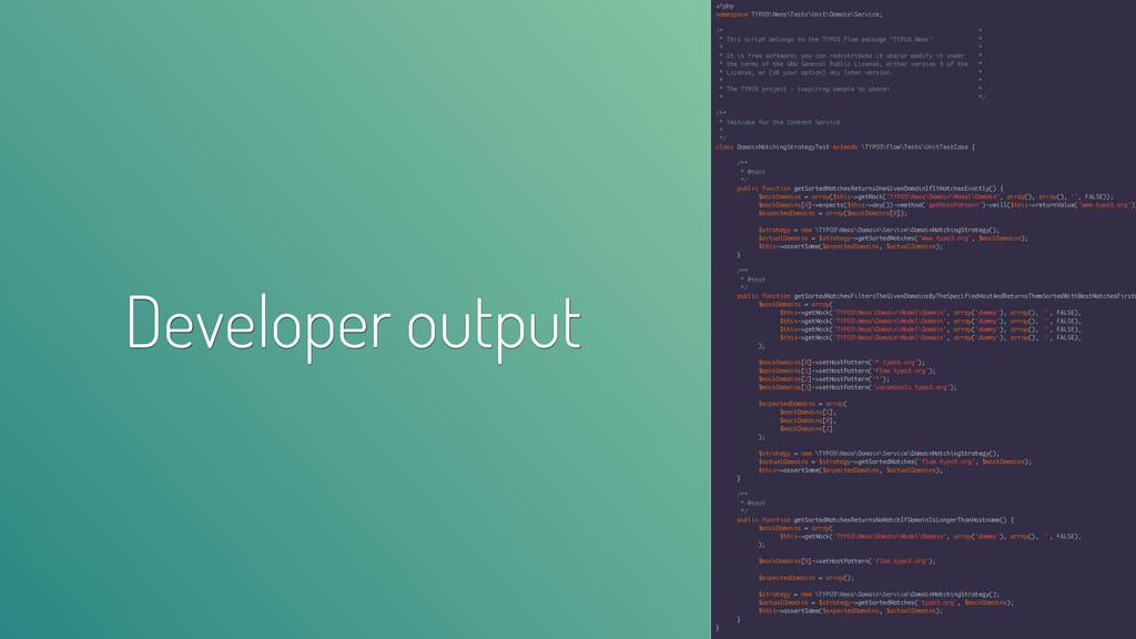 Developer output <?php namespace TYPO3\Neos\Tes...