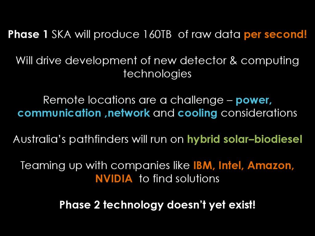 Phase 1 SKA will produce 160TB of raw data per ...