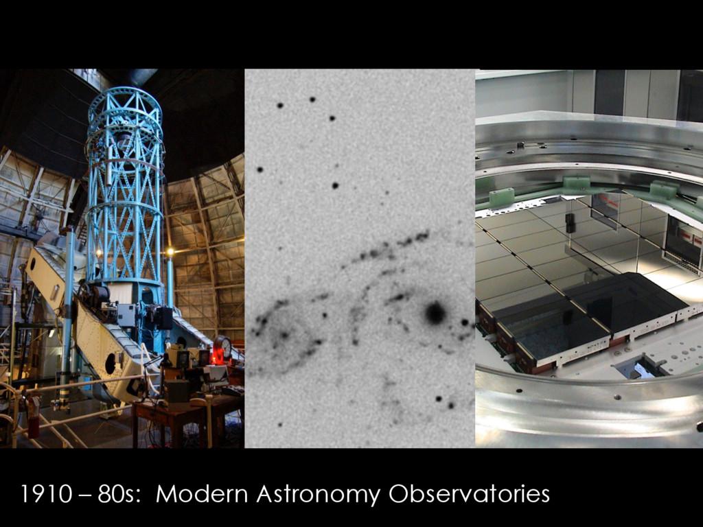 1910 – 80s: Modern Astronomy Observatories