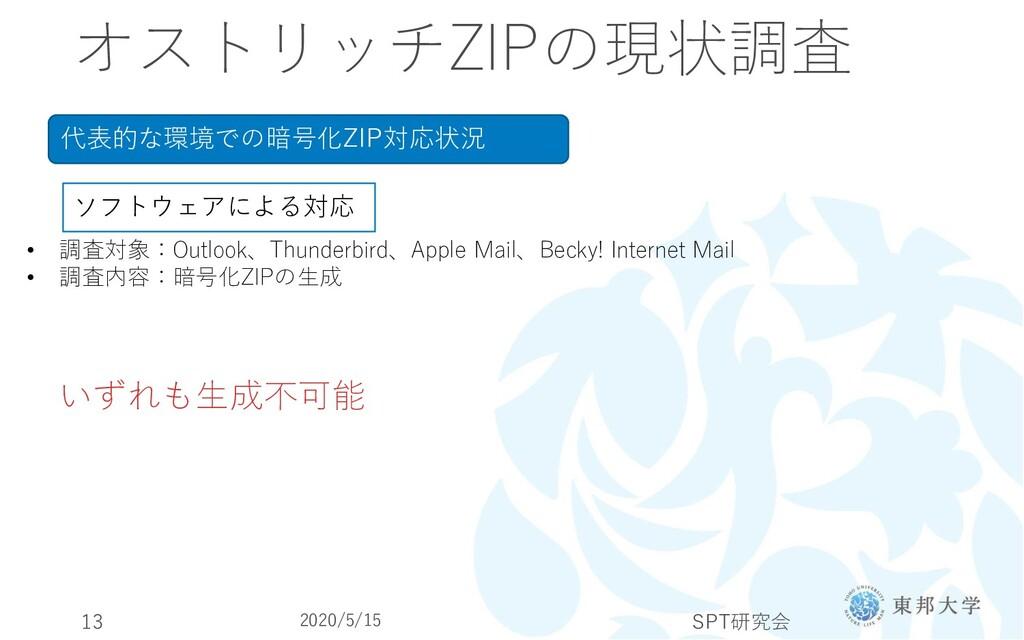 オストリッチZIPの現状調査 代表的な環境での暗号化ZIP対応状況 ソフトウェアによる対応 •...