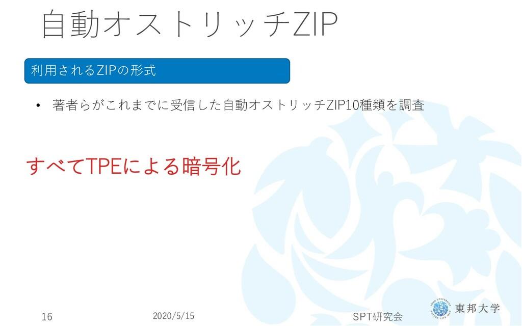 自動オストリッチZIP 利用されるZIPの形式 • 著者らがこれまでに受信した自動オストリッチ...