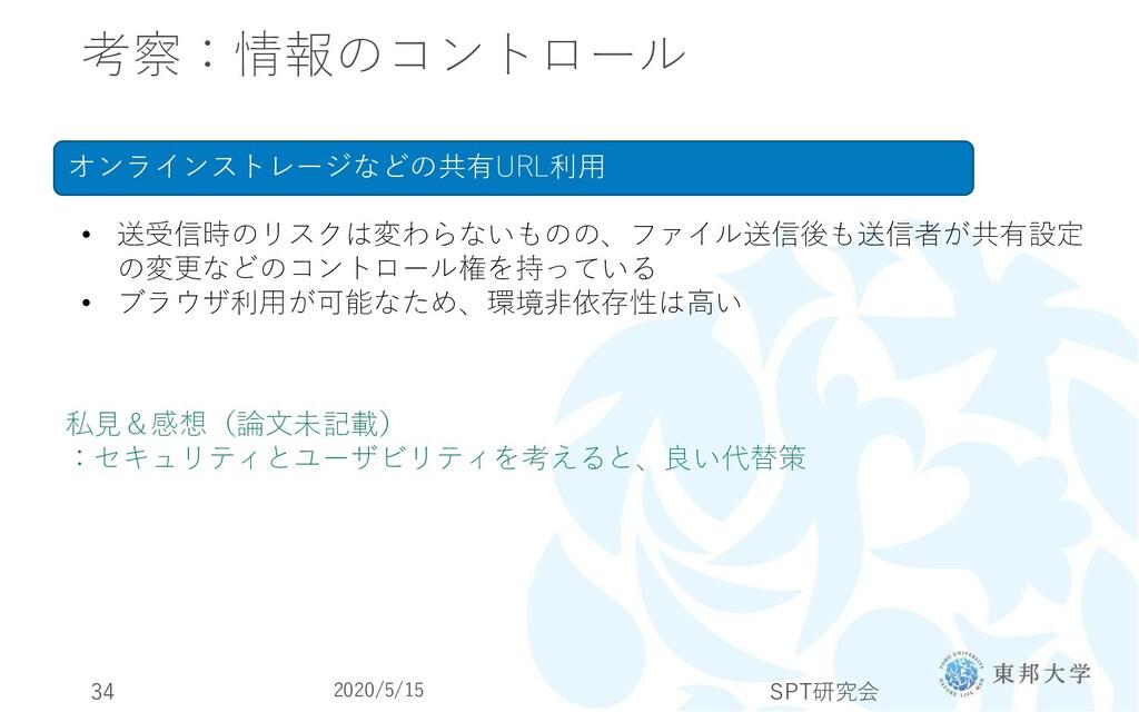 考察:情報のコントロール 2020/5/15 SPT研究会 34 オンラインストレージなどの共...
