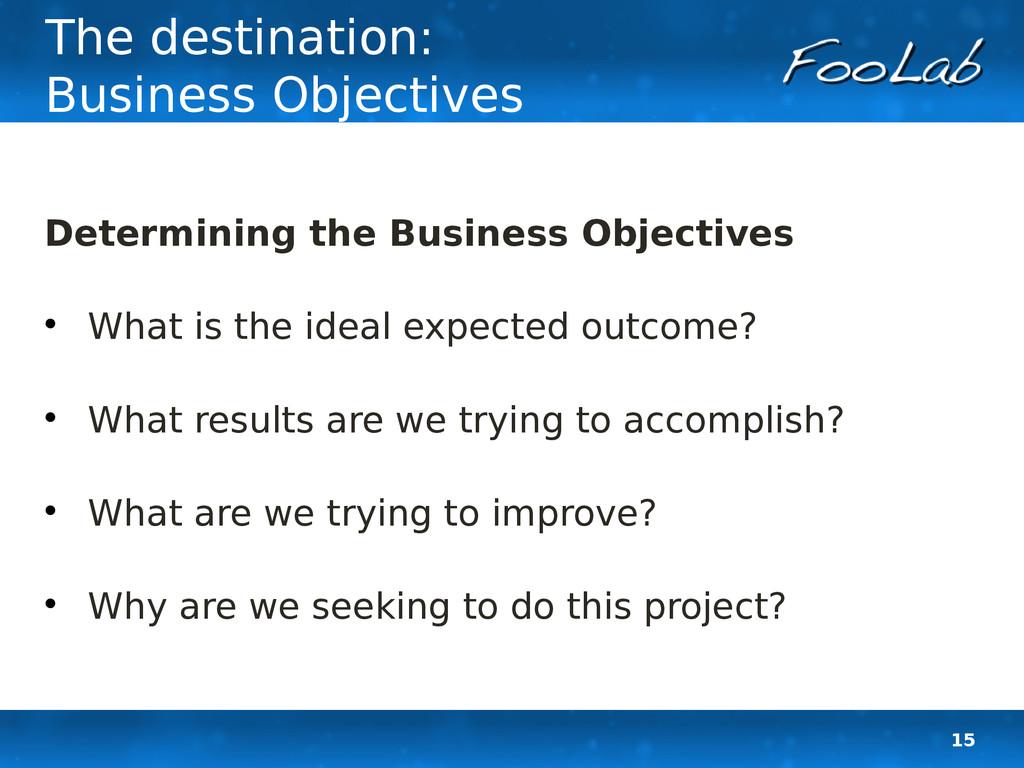 15 The destination: Business Objectives Determi...