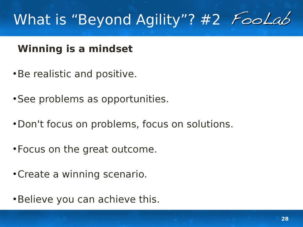 "28 What is ""Beyond Agility""? #2 Winning is a mi..."