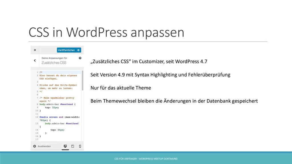 CSS in WordPress anpassen CSS FÜR ANFÄNGER - WO...